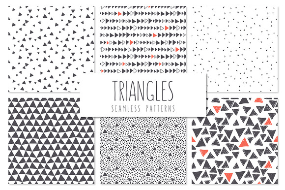 Triangles Seamless Patterns Set 5
