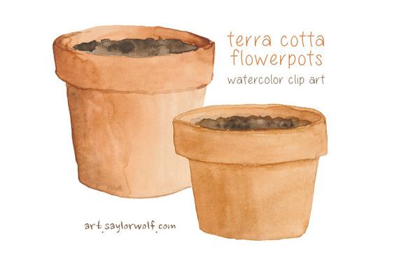 Watercolor Terra Cotta Pots Clipart