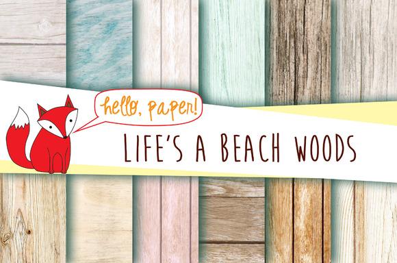 Beach Wood Digital Paper Pack