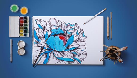 Dark Blue Flower Illustration