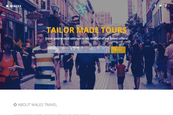 Wales Travel Agency Landing Page
