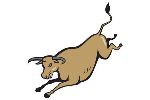 Texas Longhorn Bull Jumping Cartoon