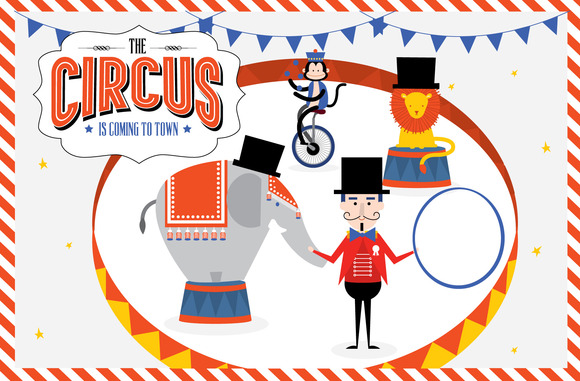 Circus Is In Town Template Vector
