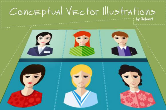 Set Of Women Avatars Portraits