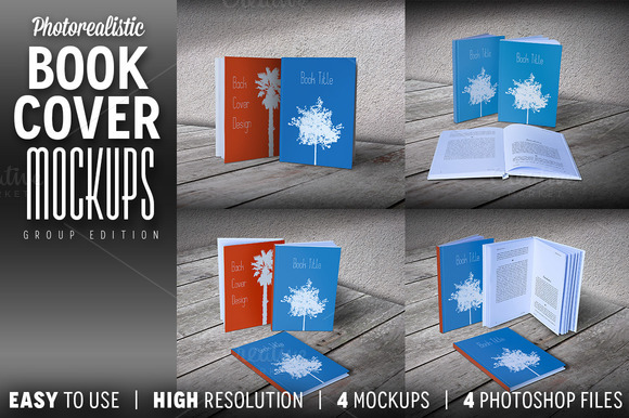 Photorealistic Book Cover Mockups