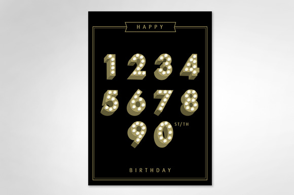 Lightbulb Number Birthday Template
