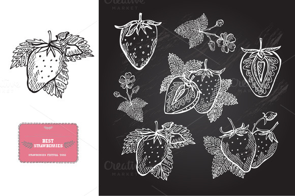 Hand Drawn Strawberries
