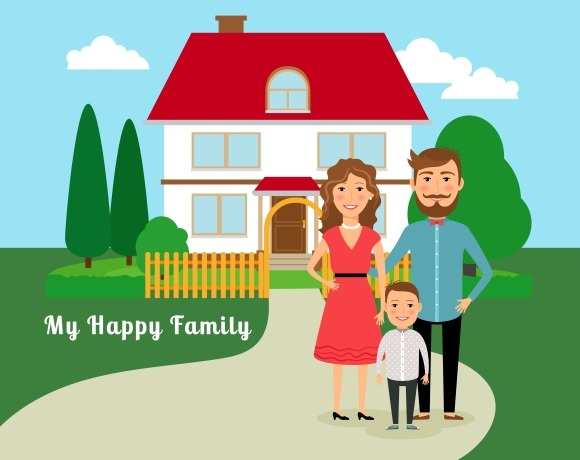 Happy Family Near House