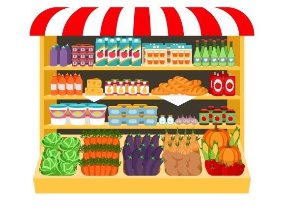 Supermarket Food On Shelves