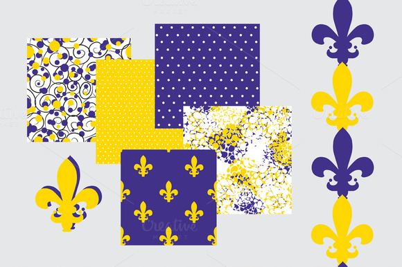 Fleur De Lis And Dots Patterns