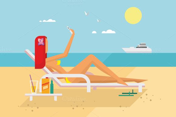 Sunbathing Girl On The Beach