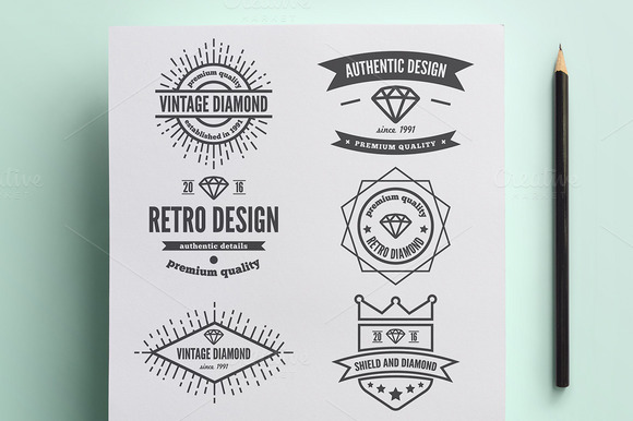 Set Of Vintage Logo With Diamond