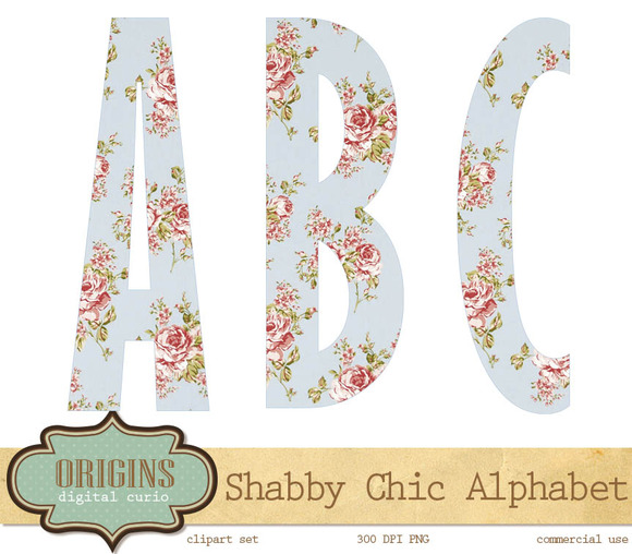 Shabby Chic Alphabet Clipart