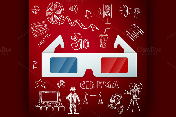 3D Glasses And Hand Draw Cinema Icon