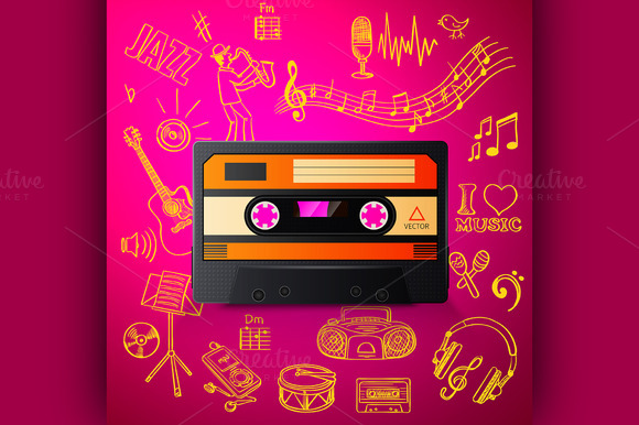 Cassette And Hand Draw Music Icon