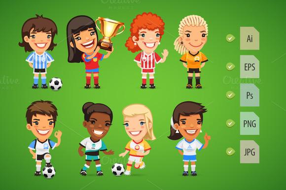 Cartoon Women Soccer Players Set