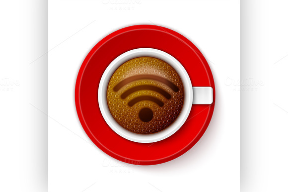 Cup Of Coffee With Wi-Fi Symbol