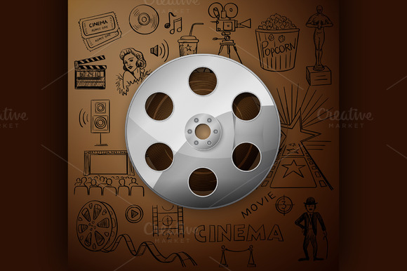 Film Reel And Hand Draw Cinema Icon