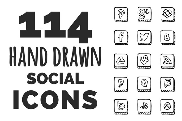 114 Hand Drawn Social Icons