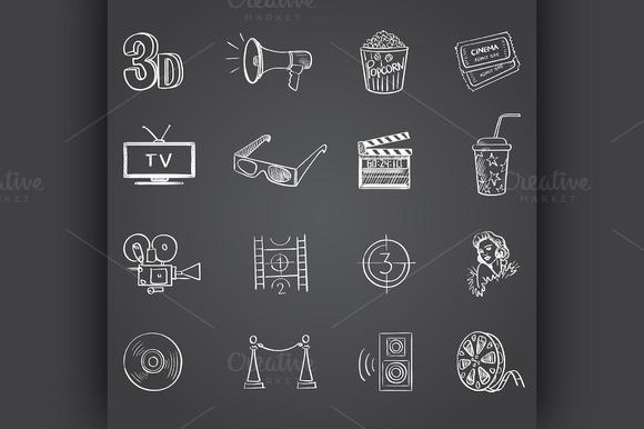 Hand Drawn Cinema Icon Set
