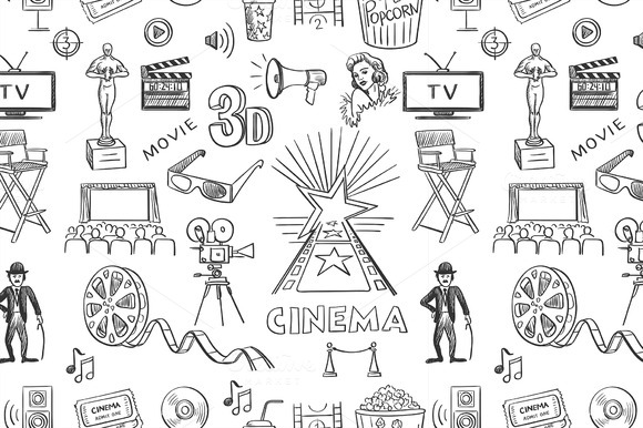 Hand Drawn Cinema Pattern