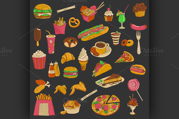 Colored Hand Drawn Fast Food Icon