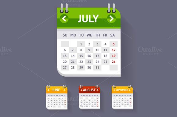 Vector Calendar Set Flat Design