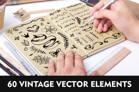 60 Hand Drawn Vector Elements