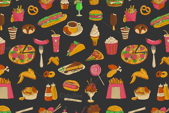 Colored Hand Drawn Fast Food Patte