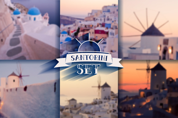 Blur Background Santorini Sunset Set