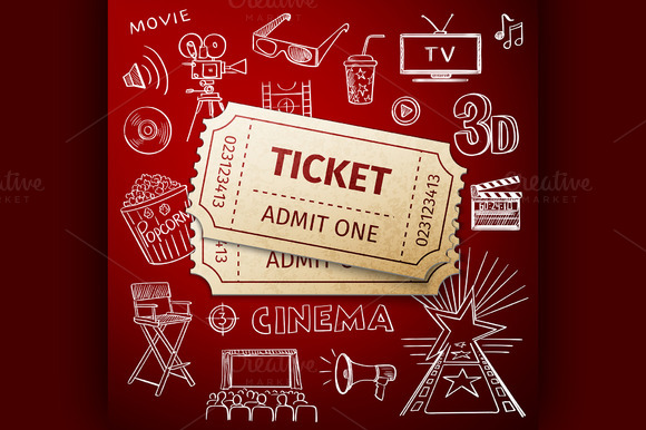Two Tickets And Doodle Cinema Icon