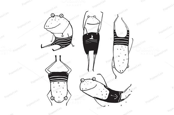 Frogs Summer Swimming Drawing