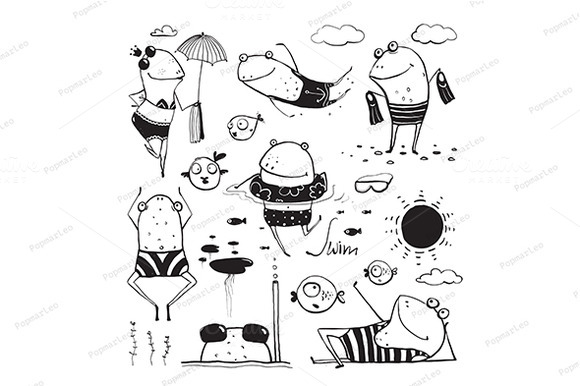 Frogs Summer Swimming Drawing Set
