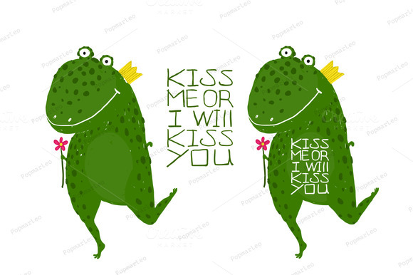 Fun Green Magic Frog Asking For Kiss