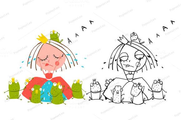 Princess Crying And Many Prince Frog
