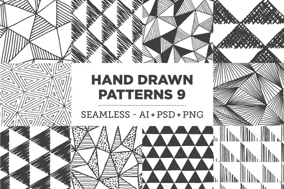 Hand Drawn Patterns 9 Triangles
