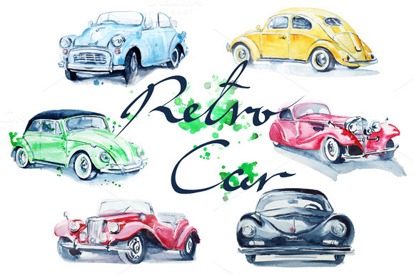 Watercolor Retro Cars