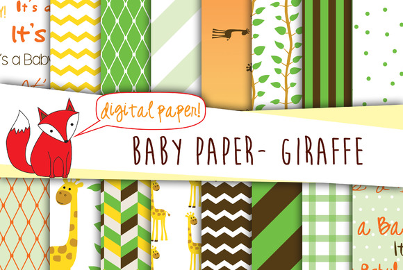 Baby Digital Paper- Neutral Giraffe