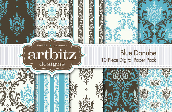 Blue Danube Damask Digital Paper