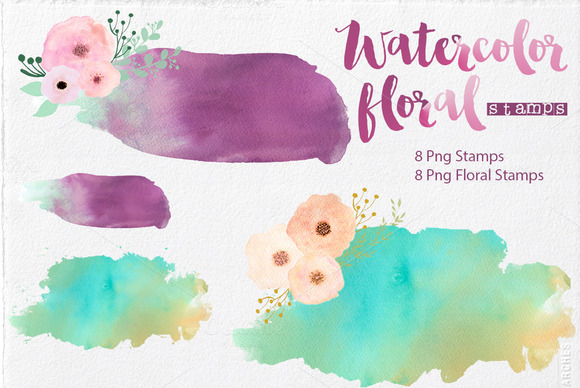 Watercolor Stamps Floral Stamps