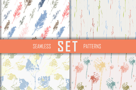 4 Seamless Patterns Set Vector