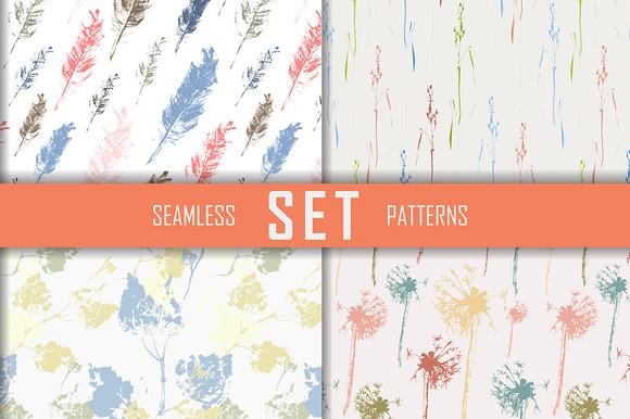 4 Seamless Patterns Set Vector