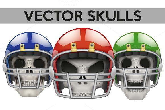 Human Skulls With American Football
