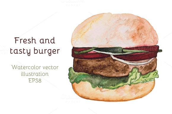 Watercolor Burger