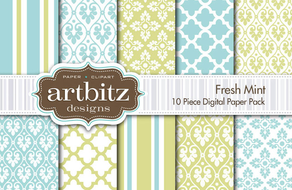 Fresh Mint Digital Paper 10 Piece