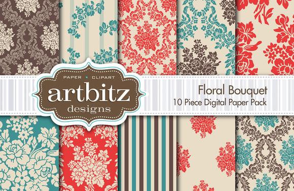 Floral Bouquet Digital Paper