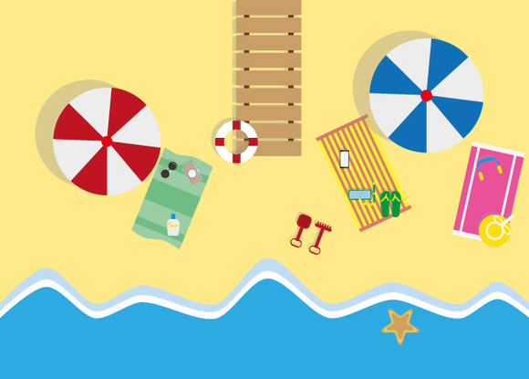 Summer Beach In Flat Design Sea Sid