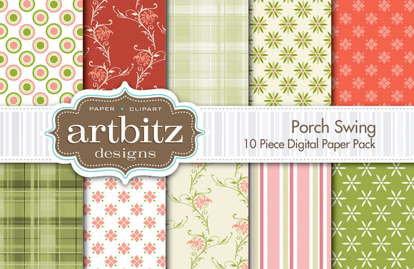 Porch Swing Digital Paper 10 Piece