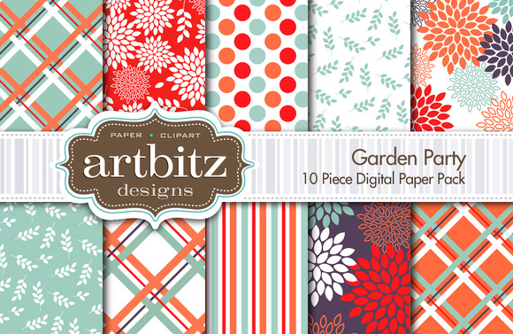 Garden Party Digital Paper 10 Piece