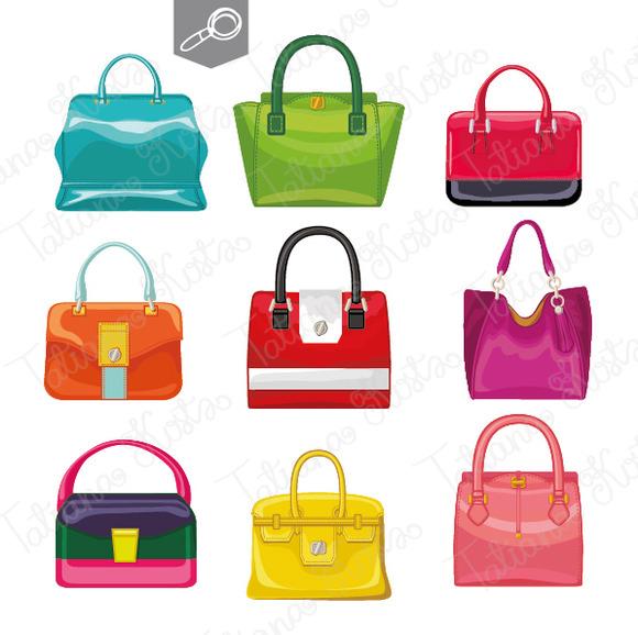 9 Colored Women S Handbags Vector